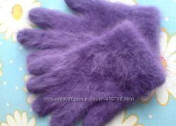 Перчатки женские теплые, фиолетового цвета, ангора, новые