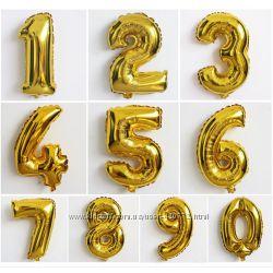 Цифра шар золото серебро фольга воздушный шарик
