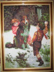 Картина вышита крестом Дети с собакой
