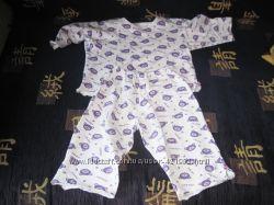 Продаются пижама хлопковая  с мишками фиолетовыми на белом фоне