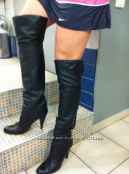 Сапоги Casadei, ботфорд-сапог, цвет-черный, кожа, демисезо