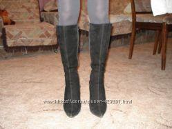 Сапоги женские замшевые, еврозима, цвет-черный, размер - 40, каблук - высок