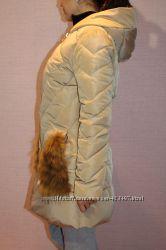 Зимнее пальто размер наш М, карманчики лиса