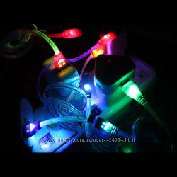 USB microUSB кабель 10 цветов светящийся LED зарядка