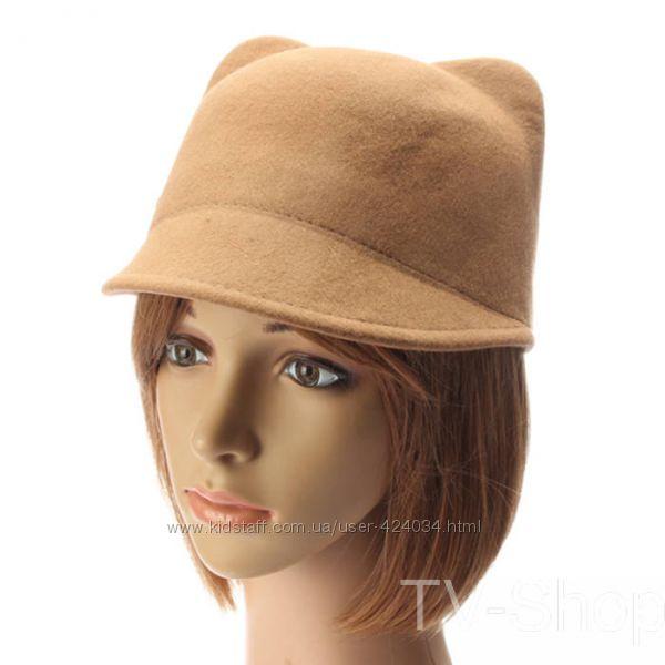 Модна фетровий шапка капелюх жокейка з вушками бежева бордова розмір 57-58