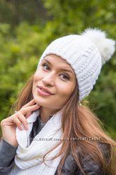 Красивый шерстяной набор шапка шарф с помпоном песец