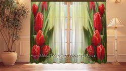 Фотошторы цветы с 3D изображением