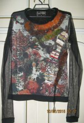 Свитер нарядный с сеточкой 46 размера