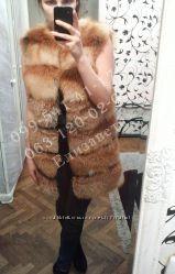 Меховой жилет из рыжей лисы. Пеперечная раскладка меха.