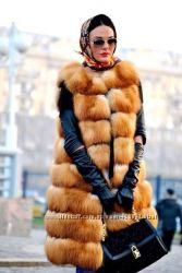 Роскошный длинный меховой жилет из лисы