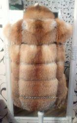 Меховая жилетка из рыжей лисы. Меховой жилет поперечка.