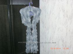 нарядный шерстяной шарфик с меховыми бубончиками