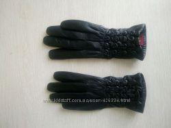Кожаные зимние перчатки