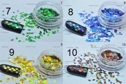 Голографические ромбы для декора ногтей, 16 цветов в наличии