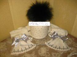 Комплект из шерсти мериноса шапка и шарф