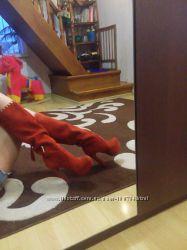Высокие красивые замшевые сапоги medea толстый высокий каблук