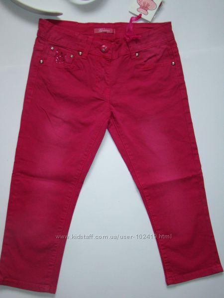 Стильные джинсовые бриджи в камнях с поясом из Италии