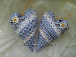 Текстильные сердечки, подушечки