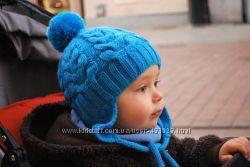 Детские зимние на флисе вязаные шапки, ручная работа