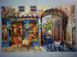 Картина вышитая крестиком-венецианское кафе