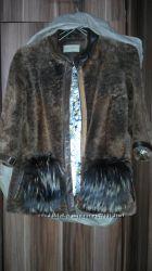 Шуба мутоновая с карманами с чернобурки