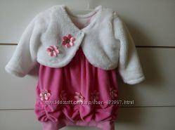 Розовое нарядное платьице с болеро на девочку 74 см бесплатная доставка