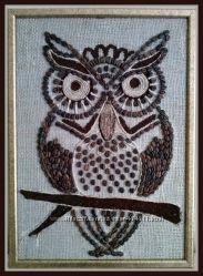 Картина-панно из кофейных зёрен Совушка