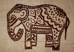 Картина-панно из кофе Индийский слон