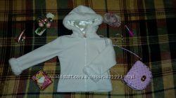 Белая флисовая кофта с капюшоном на девочку 2-3 года. Замеры