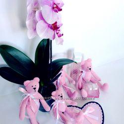 Набор вельветовых розовых мишек 3 шт. оригинальный подарок дочке девушке