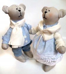 Пара мишек Снежинки, крупненькие,  оригинальній подарок игрушка кукла