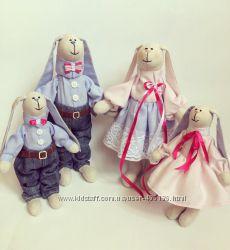 семья зайцев SWEET FAMILY, ручная работа, подарок, тильда девушке дочке сын
