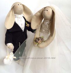 Свадебные зайки, жених и невеста, подарок на свадьбу, молодожены
