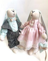 Пара заек Мятно-розовые, подарок маме подруге дочке день рождение под заказ