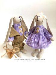 пара заек тильда Золотая осень, оригинальный подарок, ручная работа, дочке