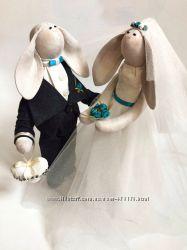 Свадебные зайки, пара молодоженов, бирюзовая свадьба, ручная работа подарок