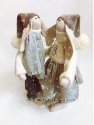 пара заек тильда Первый снег, подарок на новый год, Рождество зима оригинал