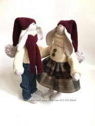 пара новогодних заек тильда Зайки гномини, подарок на новый год, Рождество