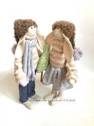 Пара заек тильда Снежные пушинки, подарок на Новый год Николая Рождество ор