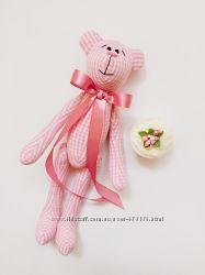 Розовый Мишка тильда подарок оригинал на день рождение Святого Валентина