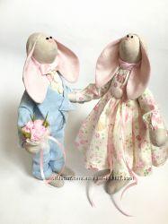 Пара заек тильда Небесно-розовые оригинальный подарок на свадьбу 8 Марта