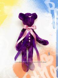 Фиолетовый плюшевый бархатный Мишка мишутка тильда оригинальный подарок