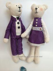 Пара мишек тильда оригинальный подарок декор игрушка девушке дочке маме сын