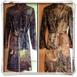 Шикарный фирменный кожаный плащ со вставками натурального гладкого меха