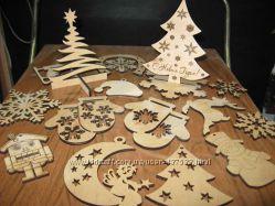 Заготовки из фанеры для декупажа и декора на новогоднюю тему.