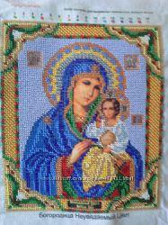Икона вышитая бисером Богородица Неувядаемый цвет