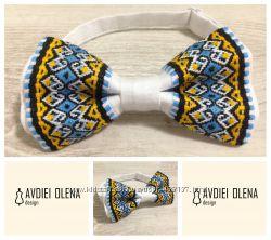 Галстук - бабочка с украинской вышивкой