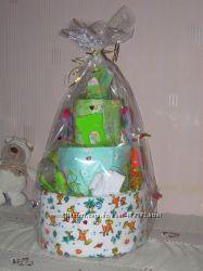 Торт из памперсов - лучший подарок новорожденным и деткам до года