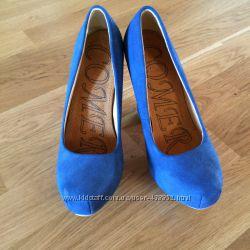Синие туфли на платформе размер 36