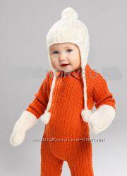 NORVEG Baby Шапка детская с помпоном  митенки, цвет молочный